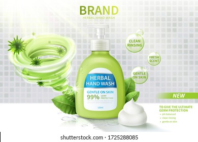 Ad template of hand wash, realistic dispenser bottle decorated with disinfecting vortex, herbal leaves and creamy lather, 3d illustration