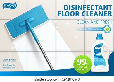 Ad template layout of bleach or floor cleaner. 3d illustration of mop cleaning dirty floor with detergent. Concept of clean shiny and no streak mopping.