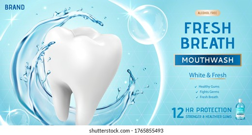 Ad template for mouth wash or oral rinse, with giant white molar surrounded by bubbles and blue splashing water, 3d illustration