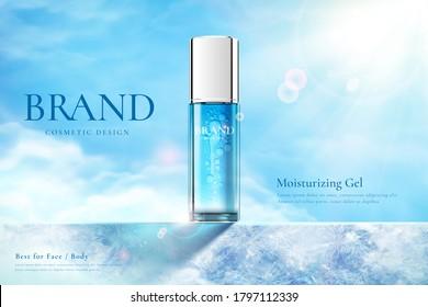 Ad template for summer skincare product, bottle mock-up set on blue frozen platform in 3d illustration, concept of after sun cooling