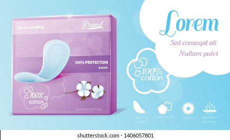 Ad Text Banner for Feminine Hygienic Maxi Cotton Pads. Monthly Protection and Skin Care in Genital Area. Quickly Moisture Absorption, Leaks Prevention. Realistic Pack Vector 3d Illustration on Blue