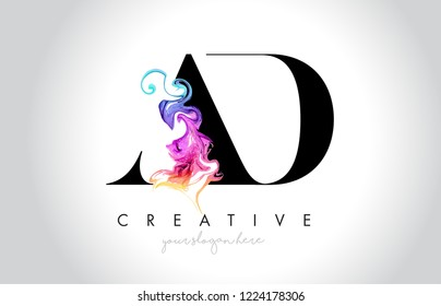 AD Vibrant Creative Leter Logo Design with Colorful Smoke Ink Flowing Vector Illustration.