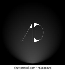 AD White thin minimalist LOGO Design with Highlight on Black Background.