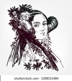 Ada Lovelace vector sketch portrait isolated
