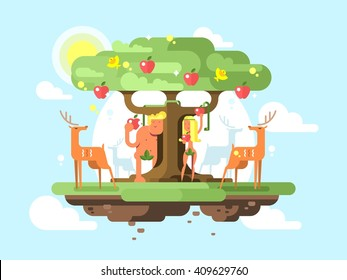 Adam and Eve near a tree