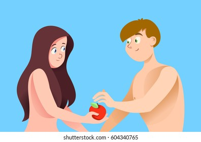 Adam and Eve on blue background. Composition with the characters. The Woman gives the man an apple.