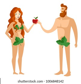 adam and eve with sin apple