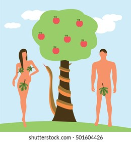 Adam and Eve with a snake and a big apple tree illustration isolated in a light blue background
