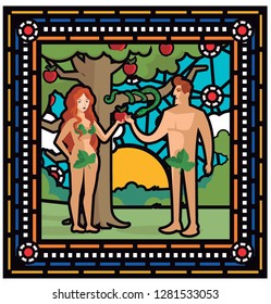 adam and eve and  the snake taking apples in eden garden stained glass