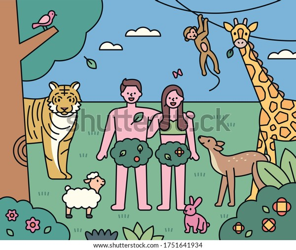 Adam and Eve stand in the garden of Eden. There are animals around. flat design style minimal vector illustration.
