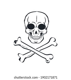 Adam head with two cross-laying bone below symbolic depiction. Victory handing and death protecting biker sign flat vector illustration on white.