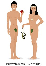 Adam is holding an apple and Eve is hoding a snake on transparent background