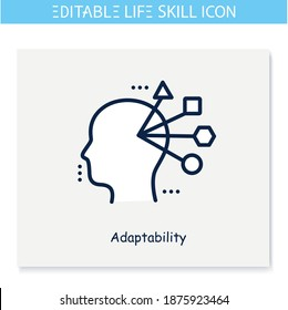 Adaptability line icon. Flexibility. Personality strengths and characteristics. Soft skills concept. Human resources management. Self improvement. Isolated vector illustration. Editable stroke