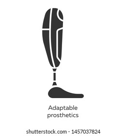 Adaptable prosthetics glyph icons set. Missing body part replacing. Mechanical artificial limb. Bionic foot. Bioengineering. Silhouette symbols. Vector isolated illustration