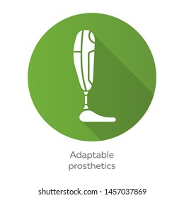 Adaptable prosthetics green flat design long shadow glyph icon. Body part replacing. Mechanical artificial limb. Bionic foot. Bioengineering. Adaptable prosthetics. Vector silhouette illustration
