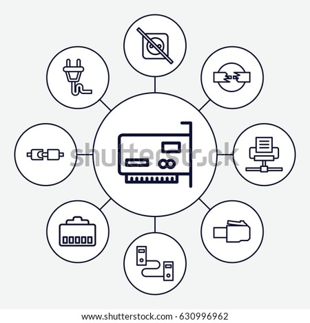 Adapter Icons Set Set 9 Adapter Stock Vector Royalty Free