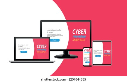 Adaptive landing page design for cyber monday, for smartphone, computer and tablet, vector illustration