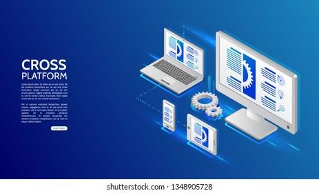 Adaptive responsive webdesign. Cross platform website development . Multiplatform web page concept for pc, laptop, tablet and smartphone.