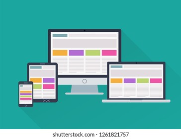 Adaptive responsive webdesign on different electronic devices. Vector illustration in flat style