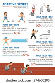 Adaptive sport infographic, Para-sport, Disabled person sport, cripple sport | Vector illustration