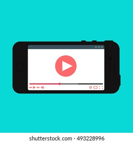 Adaptive Web Phone Template and Gadget Elements for site form of watching online video on smartphone. Vector