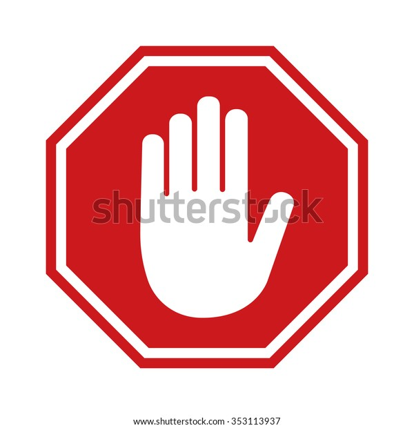 Adblock or red stop sign icon with hand / palm flat vector icon for apps and websites