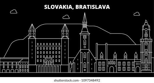 adBratislava silhouette skyline. Slovakia - Bratislava vector city, slovakian linear architecture, buildings. Bratislava travel illustration, outline landmarks. Slovakia flat icon, slovakian line banner