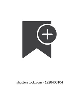 Add bookmark vector icon. filled flat sign for mobile concept and web design. Bookmark plus simple solid icon. Symbol, logo illustration. Pixel perfect vector graphics