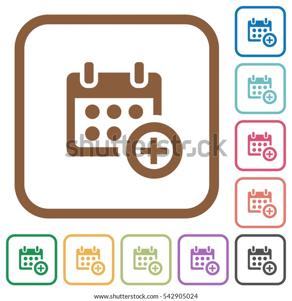 Add to calendar simple icons in color rounded square frames on white background