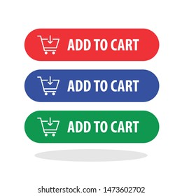 Add to cart button icon in trendy flat style. Online shopping symbol for your web site design, logo, app, UI Vector EPS 10. - Vector