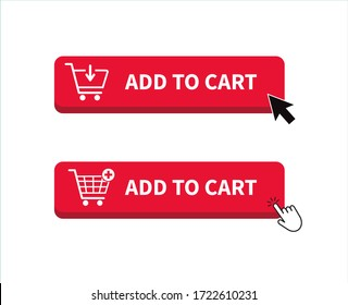 Add to cart icon. Shopping Cart icon. Hand clicking. Vector illustration.