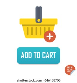 Add to Cart Vector button icon with basket. Isolated buttons for website or mobile application