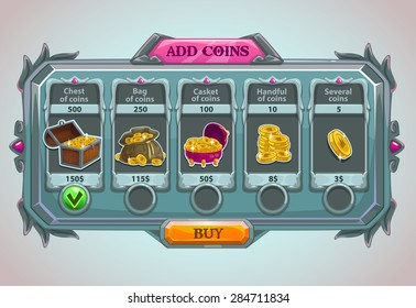 Add coins panel, vector epic game asset with coins icons and buttons