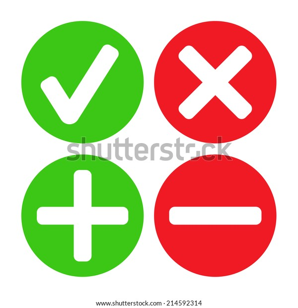 Add Delete Cross Check Mark Icons Stock Vector (Royalty Free