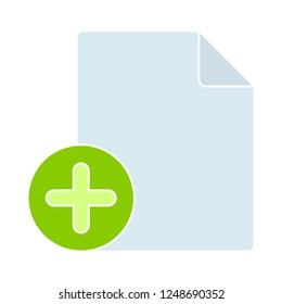 add document icon, paper and plus in circle. Paper design. Cutted symbol