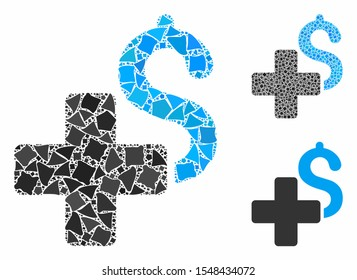 Add dollar mosaic of uneven items in various sizes and color tinges, based on add dollar icon. Vector rough items are organized into mosaic. Add dollar icons collage with dotted pattern.