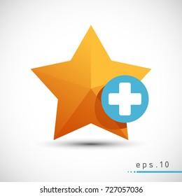 Add favorite star vector icon web symbol illustration