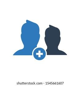 Add friend icon. vector graphics