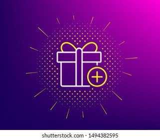 Add Gift box line icon. Halftone pattern. Present or Sale sign. Birthday Shopping symbol. Package in Gift Wrap. Gradient background. Add gift line icon. Yellow halftone pattern. Vector