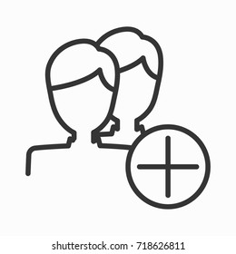 Add goup icon, illustration isolated vector sign symbol