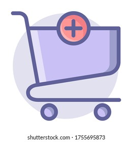Add item - shopping cart vector - color icon
