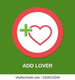 Add lover symbol - flat vector icon - add heart