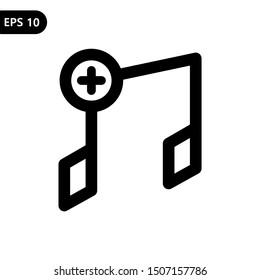 Add music item icon. Vector illustration logo template. Eps 10