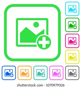 Add new image vivid colored flat icons in curved borders on white background
