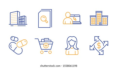 Add products, Buildings and Online education line icons set. Company, Search files and Woman signs. Capsule pill, Payment exchange symbols. Shopping cart, City architecture. Business set. Vector