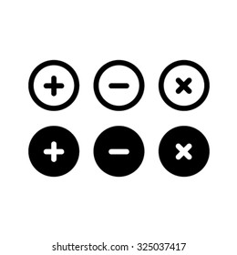 Add, Remove, Delete, Close Icons - Vector