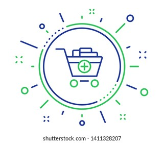 Add to Shopping cart line icon. Online buying sign. Supermarket basket symbol. Quality design elements. Technology add products button. Editable stroke. Vector
