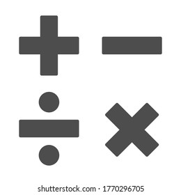 Add, subtract, divide, multiply symbols solid, Education concept, Math calculate sign on white background, Basic math symbols plus, minus, multiplication and division in glyph. Vector