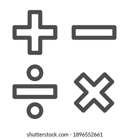 Add, subtract, divide, multiply symbols line, Education concept, Math calculate sign on white background, Basic math symbols plus, minus, multiplication and division in outline. Vector