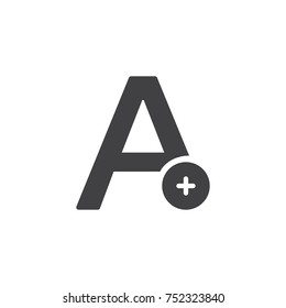 Add text icon vector, filled flat sign, solid pictogram isolated on white. Letter with plus symbol, logo illustration.